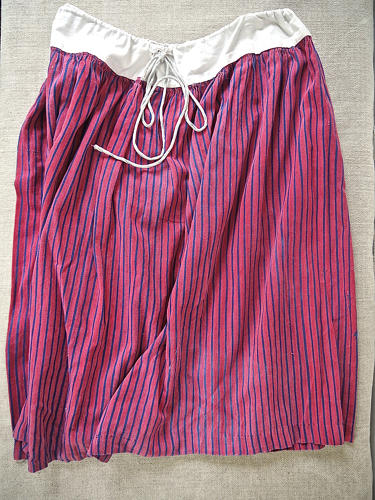 19th century French indigo striped cotton Skirt