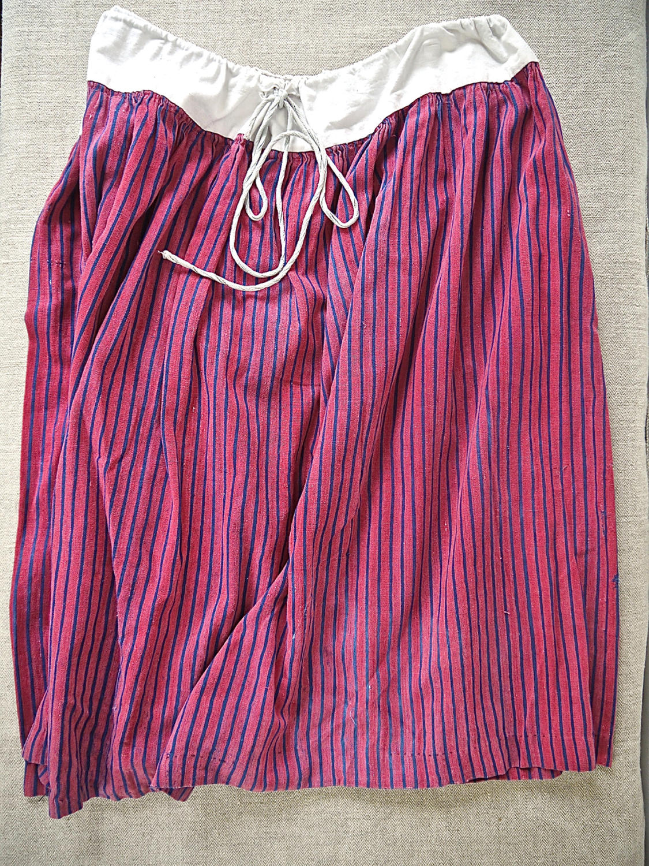 19th century French indigo striped cotton Skirt