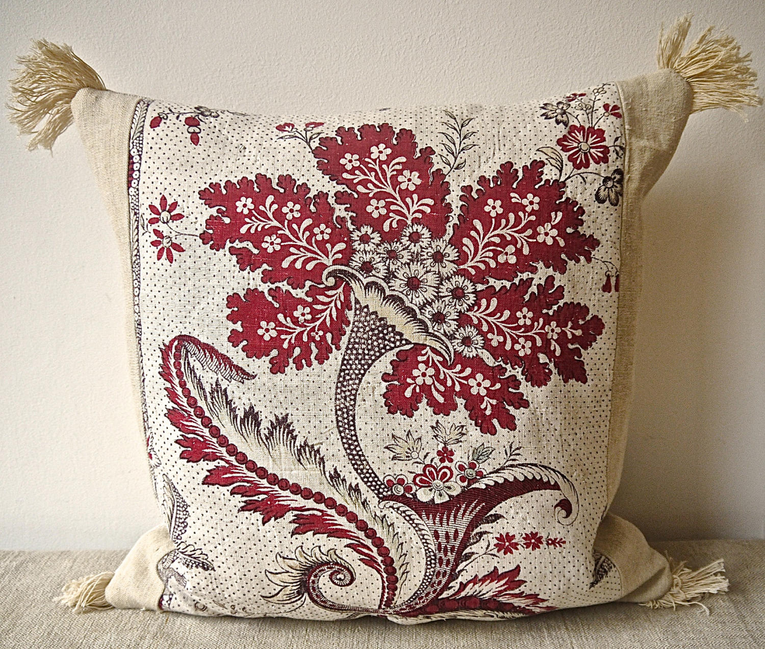 18th century French red and white flower cushion