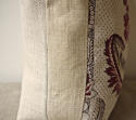 18th century French red and white flower cushion - picture 3