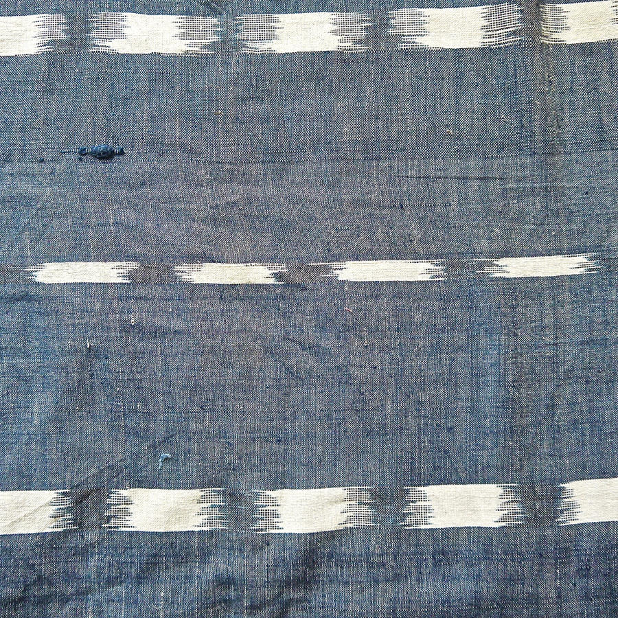 Early 19th century French indigo flamme ikat panel