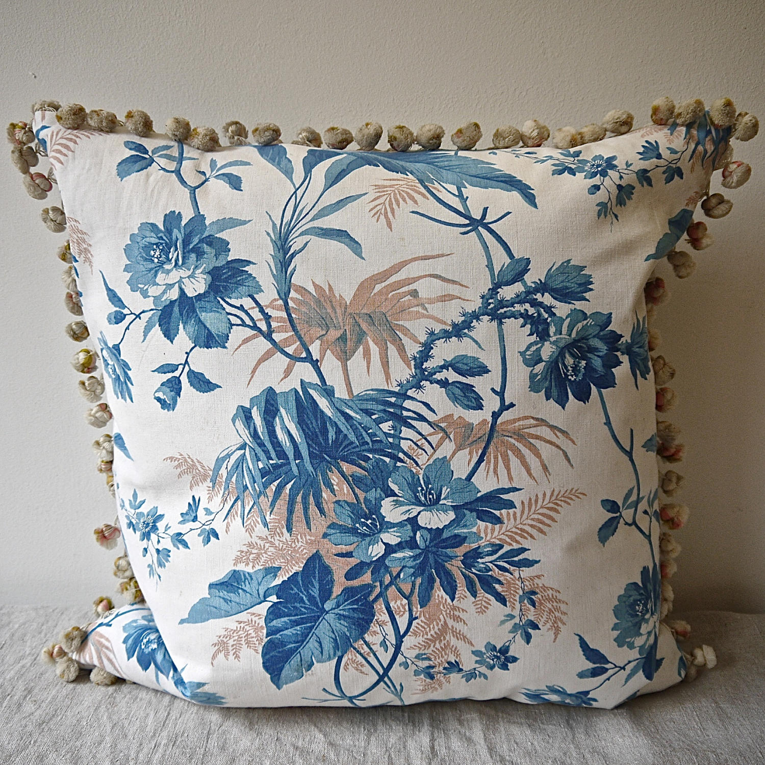 19th century French blue leaves cushion