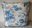 19th century French blue leaves cushion - picture 2