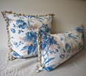 19th century French blue leaves cushion - picture 4