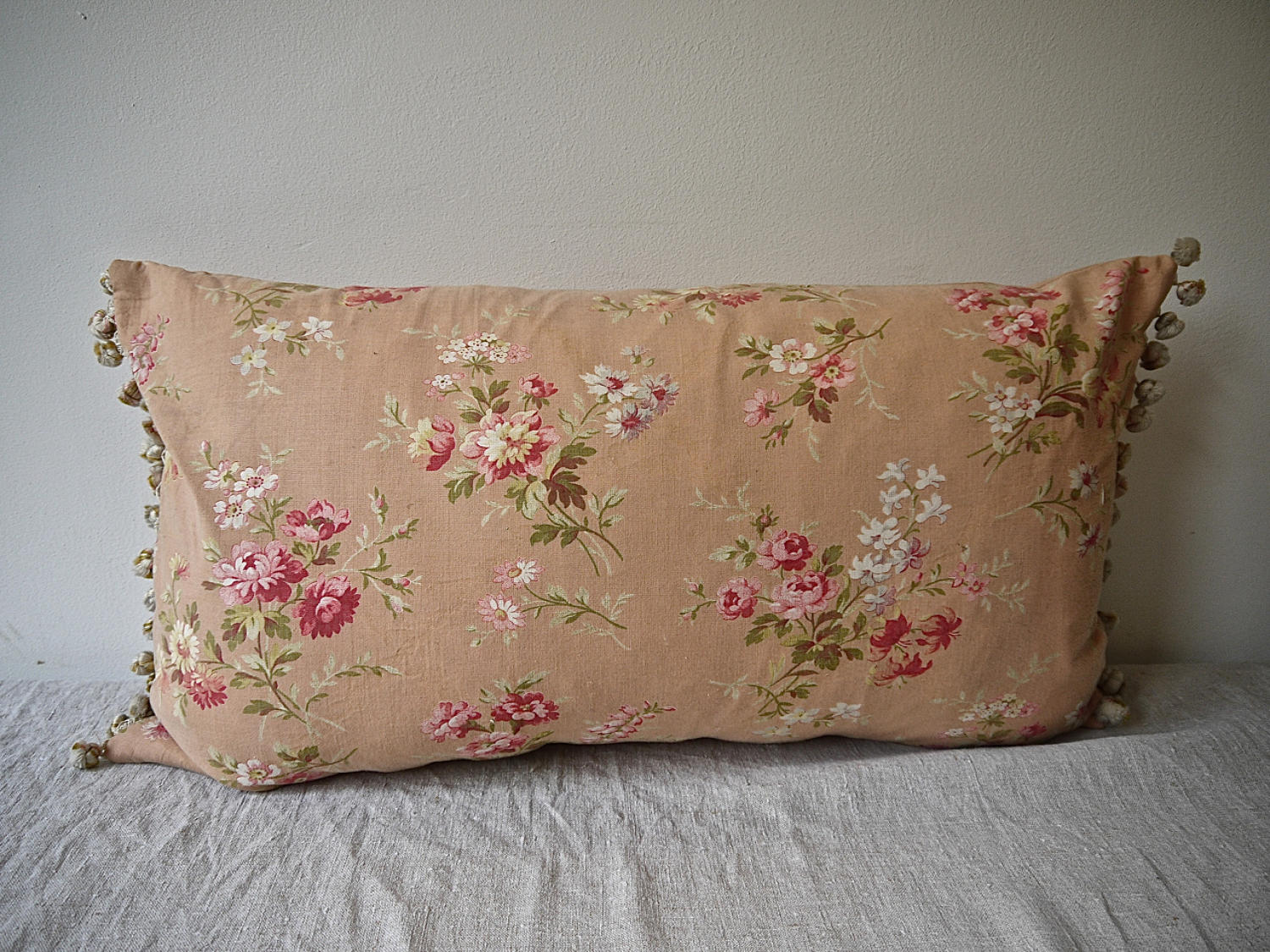 Early 20th century French red floral cotton cushion