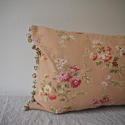Early 20th century French red floral cotton cushion - picture 3