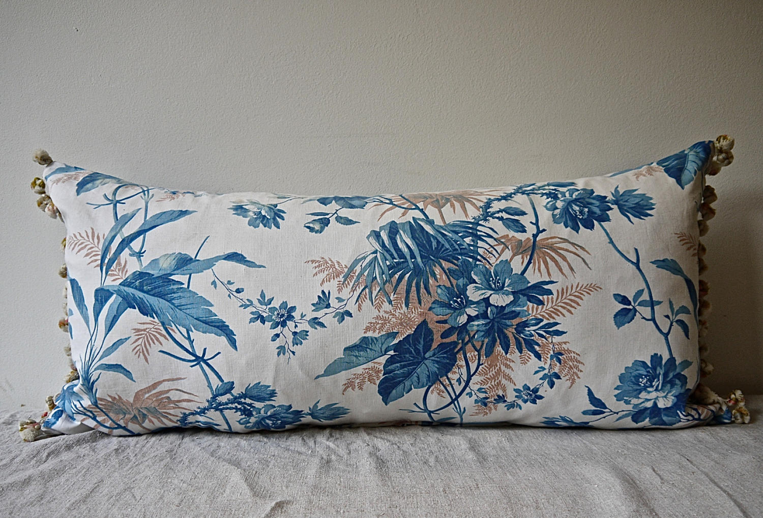 19th century French blue fern leaves cushion