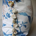 19th century French blue fern leaves cushion - picture 3