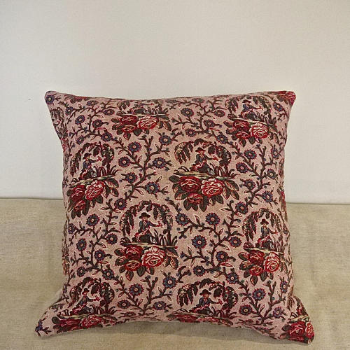 18th century French naive toile cushion