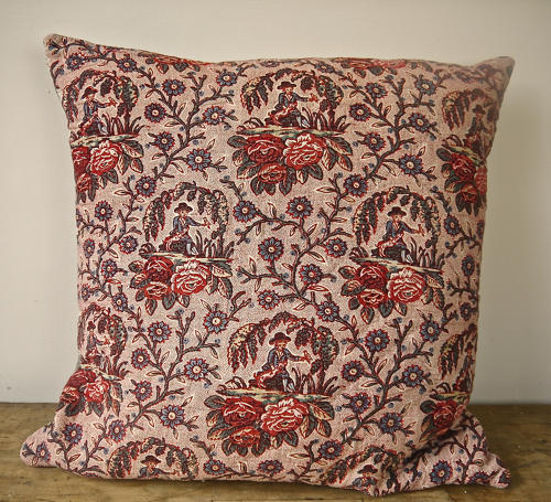 18th century French Bolbec naive toile cushion