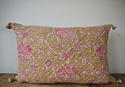 19th century French faded rose pink flowers cushion - picture 1