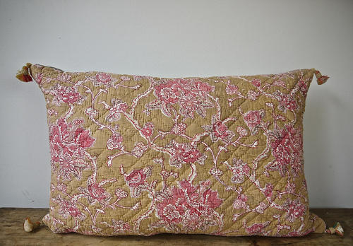 19th century French faded rose pink flowers cushion