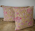 19th century French faded rose pink flowers cushion - picture 7