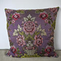 18th century French lilac pink floral silk cushion - picture 1