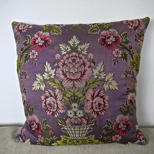 18th century French lilac pink floral silk cushion