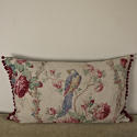 Early 20th century French parrot roses linen cushion - picture 1