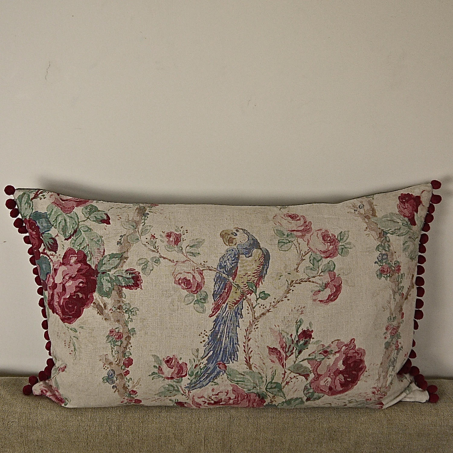 Early 20th century French parrot roses linen cushion