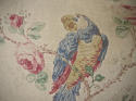 Early 20th century French parrot roses linen cushion - picture 2