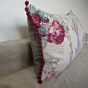 Early 20th century French parrot roses linen cushion - picture 6