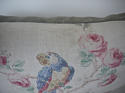 Early 20th century French parrot roses linen cushion - picture 7