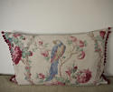 Early 20th century French parrot roses linen cushion - picture 8
