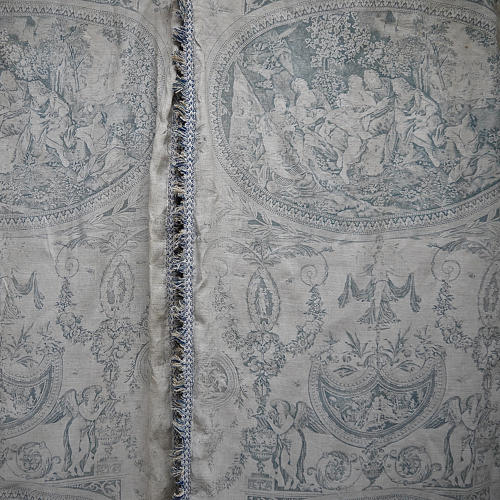 Pair of 19th century French blue toile linen curtains