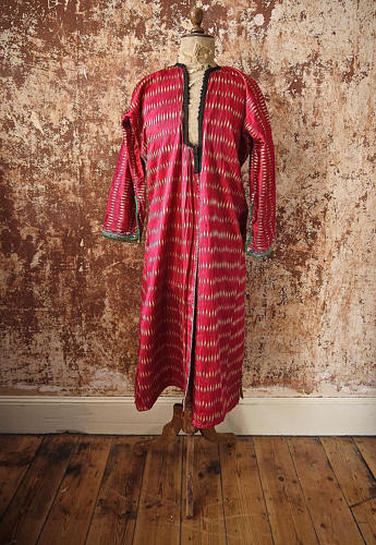 Early 20th century Aleppo red silk ikat robe