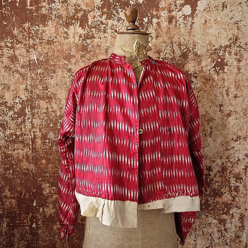 Early 20th century Aleppo red silk ikat jacket