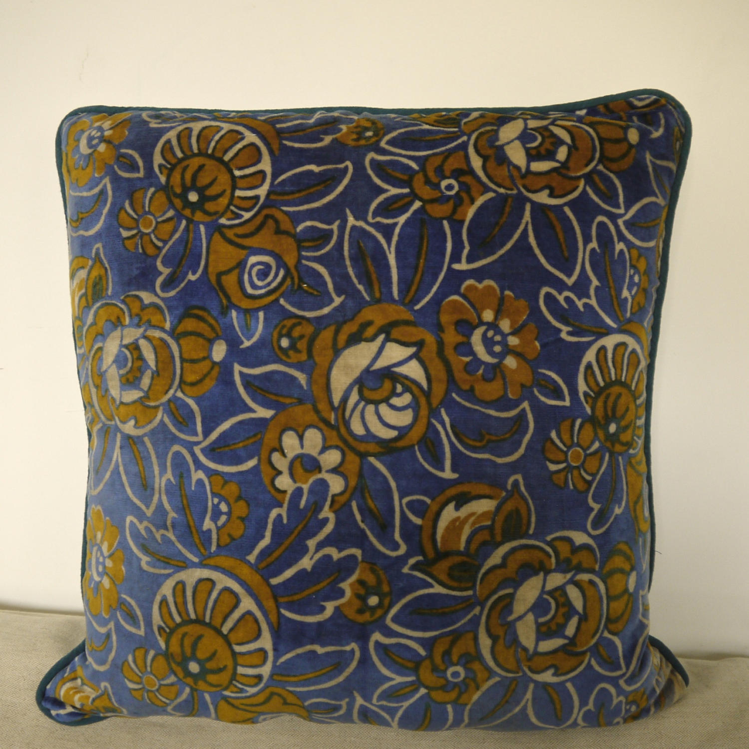 French c.1920s Art Deco cotton velvet cushion