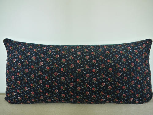 19th century French pink flowers indigo cushion