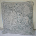 Toile de jouy faded blue linen cushion - picture 1