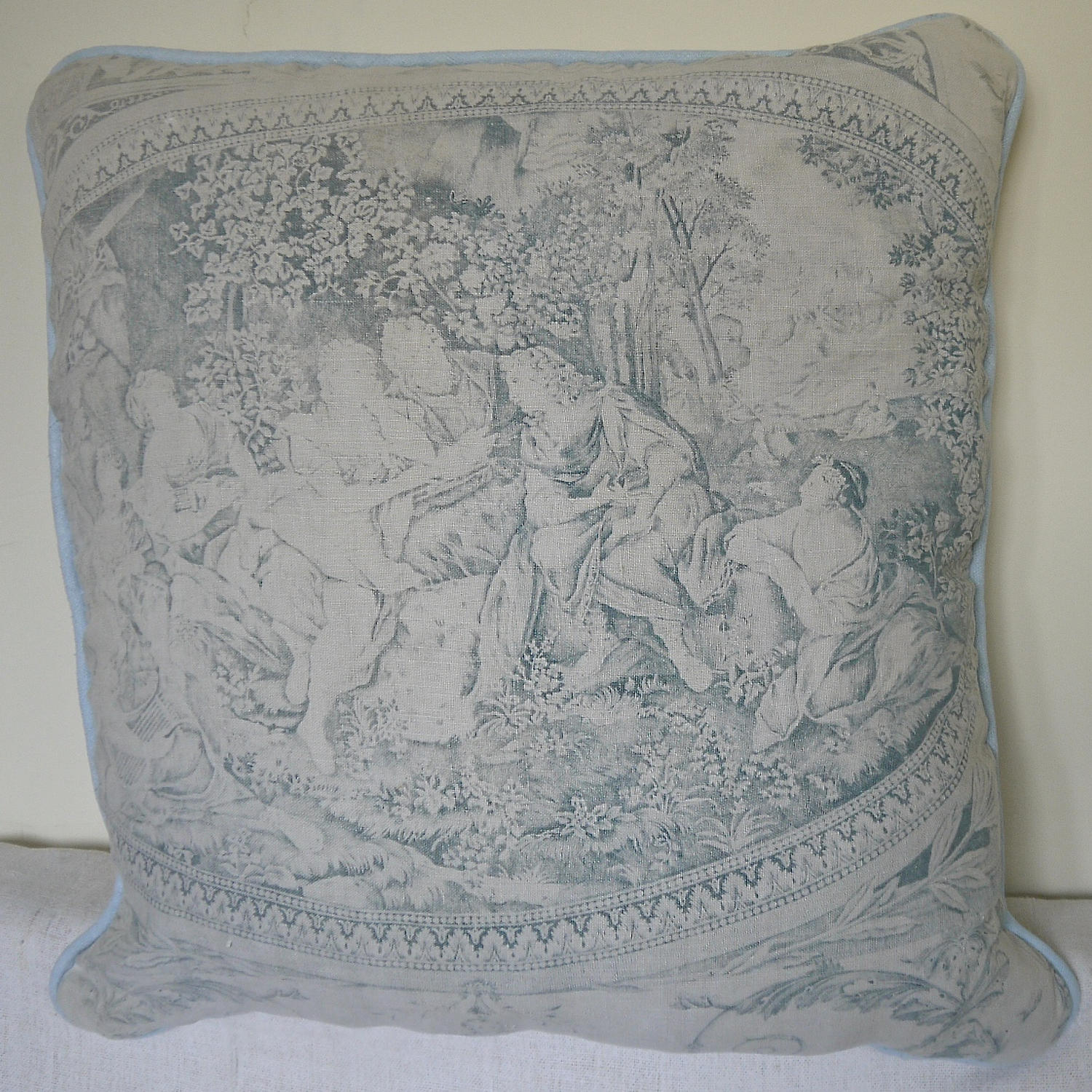 Toile de jouy faded blue linen cushion