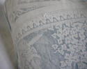 Toile de jouy faded blue linen cushion - picture 10