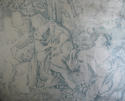 Toile de jouy faded blue linen cushion - picture 3