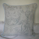 Toile de jouy faded blue linen cushion - picture 4