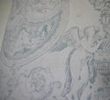 Toile de jouy faded blue linen cushion - picture 5