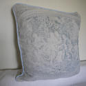 Toile de jouy faded blue linen cushion - picture 8