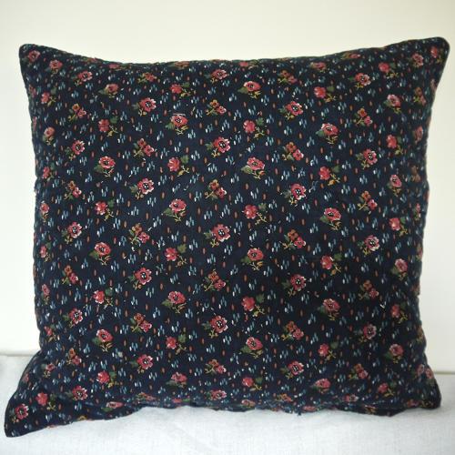 Pink flowers indigo cotton cushion 19thc