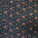 Pink flowers indigo cotton cushion 19thc - picture 2