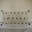 Wool woven flowers on linen cushion - picture 1