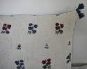 Wool woven flowers on linen cushion - picture 3
