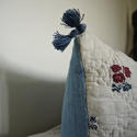 Wool woven flowers on linen cushion - picture 4