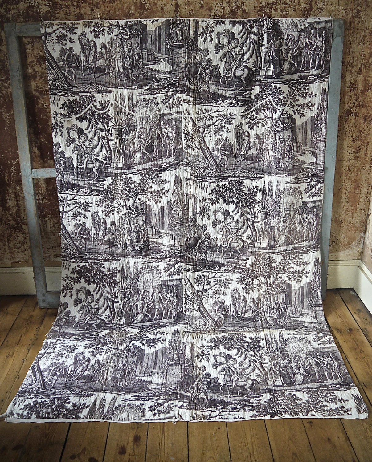 Purple Toile de Nantes Cotton Panel c.1805
