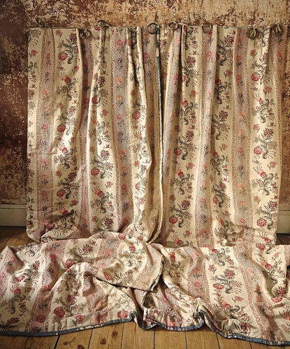 Pair of Floral Indienne Linen curtains French c.1880s