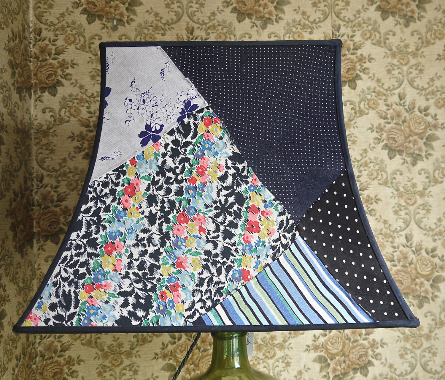 Vintage Silk patchwork Pagoda  lampshade