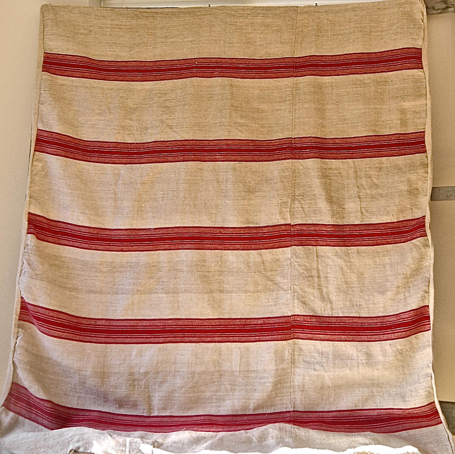 Red striped hemp cover French 19th century