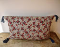 Red Blue Stylised Flowers blockprinted   cushion - picture 1