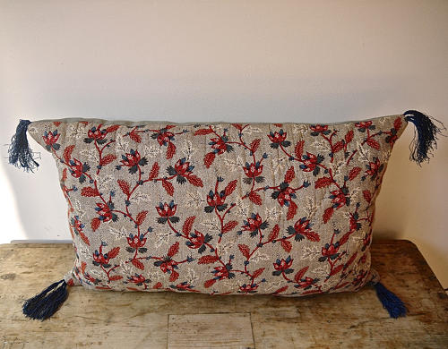 Red Blue Stylised Flowers blockprinted   cushion