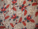 Red Blue Stylised Flowers blockprinted   cushion - picture 3