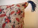 Red Blue Stylised Flowers blockprinted   cushion - picture 5